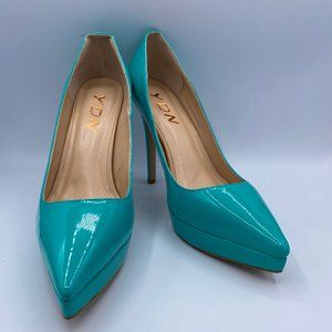 YDN Blue Pointy Toe Stilettos Platform Heels Pumps